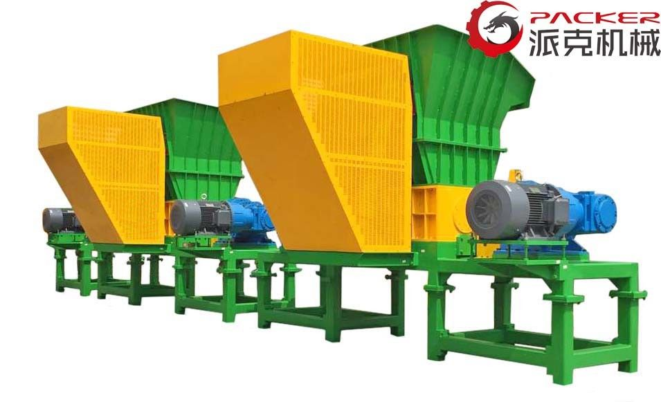 22kW*2 Industrial Shredder Machine Low Noise Plastic Volume Hollow Easy Operation