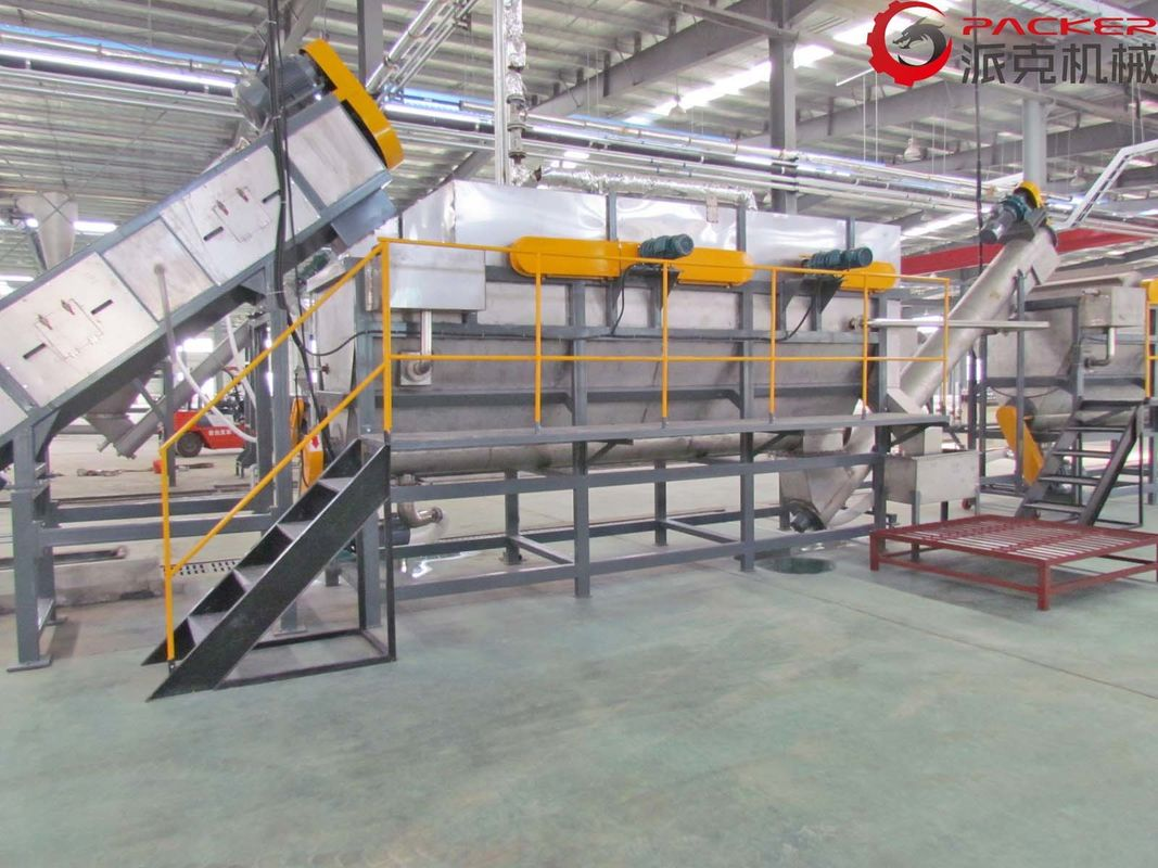 PLC Plastic Bottle Recycling Machine , Plastic Recycling Washing Line 304 SUS